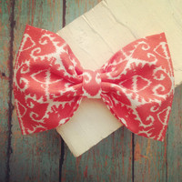 Aztec fabric hair bow coral orange white rockabilly by SplendidBee