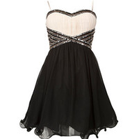 Black and White Embellished Waist Prom Dress