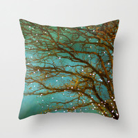 Throw Pillow Case decorative Indoor cover, Magical christmas, green, branches, winter tree, lights on tree