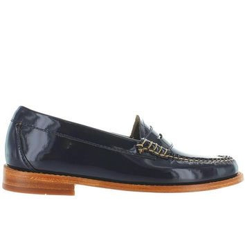 Bass Weejuns Whitney - Navy Patent Leather Classic Penny Loafer