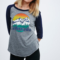 Truly Madly Deeply Colorado Hike Baseball Tee in Grey - Urban Outfitters