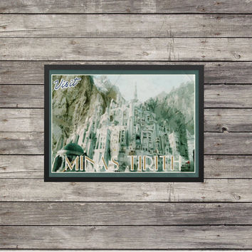 LOTR Poster | Lord of the Rings poster |Minas Tirith | Vintage look print | Vintage travel