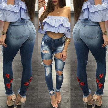 Embellished Distressed Stretch Pencil Jeans