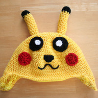 Pokemon Pikachu Hat, crochet hat for babies, Pokemon Go hat, Pokemon hat for toddlers and babies, Halloween costume hat