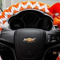 Steering Wheel Cover  Orange and White Chevron with Bow
