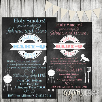 BaBy-Q Baby Shower Invitation Invite Girl Boy Backyard Bash Couples Coed Chalkboard BBQ Barbeque