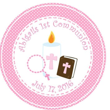 "Girls Pink Holy Communion Stickers Or Favor Tags - 2.5"" Round"
