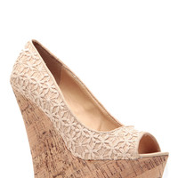 Natural Crochet Detailed Cork Wedges