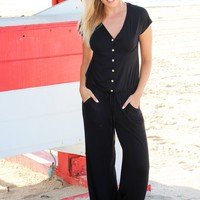 Black Short Sleeve Jumpsuit with Buttons