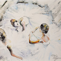 "16.5""x11.7"" Watercolor Print -""In white"" Digital art print best gift for wall decor, wall art, home decor and home art. Ballerinas"