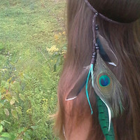Feather Headband, Bohemian headband, Native, American, style, braided, Indian Headband, Peacock headband, hippie headband, feather hairband