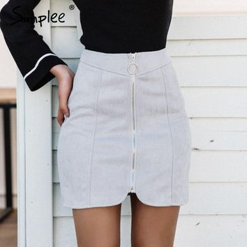 Simplee Sexy leather suede pencil skirt women Zipper ring autumn winter high waist  short skirt 2017 Bodycon party mini skirt