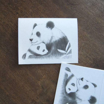 Set of 8 'A Mother's Love' Blank Notecards; Mama Panda w/ Baby Panda Bear Drawing; Blank Interiors; U.S. Shipping Included