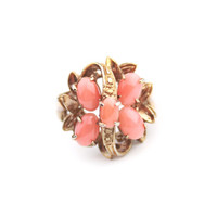 Vintage Pink Peach Cabochon Glass Ring Size 6