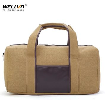 Men Canvas Travel Duffle Large Luggage Handbag Women Weekend Overnight Portable Bag Black Trip Tote Solid Shoulder Bags XA73WC
