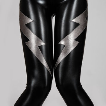 Double Lightning Bolt Leggings, Black Leather-Look Spandex Pants, Sexy Glam Rock Clothing, Heavy Metal Stage Wear, Meggings, by LENA QUIST