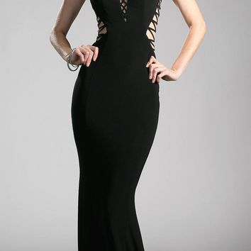Black Floor Length Prom Dress V-Neck with Sheer Cut-Outs