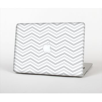 The Subtle Wide White & Gray Chevron Skin Set for the Apple MacBook Air 11""