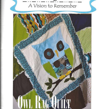 PATTERN RAG QUILT, Owl Applique, Baby Boy Crib Blanket, Vintage, Mailed Hard Copy