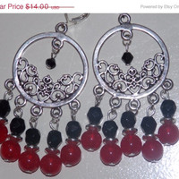 33%OFF SALE Large Red and Black Chandelier Earrings