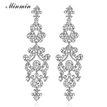 Minmin Clear / Gold Color Crystal Chandelier Long Earrings for Women Bridal Earrings Wedding Jewelry Pendantes Femmes EH283