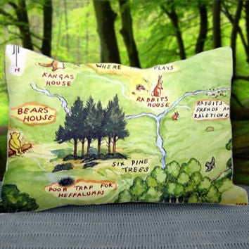 "Disney Map Winnie the Pooh Hundred Acre Wood Custom Pillow Case 30"" x 20"""