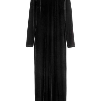 Velvet maxi dress - Black - Ladies | H&M GB