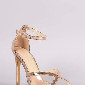 Metallic Clear Inset Ankle Strap Stiletto Heel
