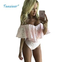 New Fashion 2017 Ruffle Off Shoulder Blouse Suit Summer Lace Floral Casual Blusas Body Shirt Women Bodysuit Sexy Beach Blouses