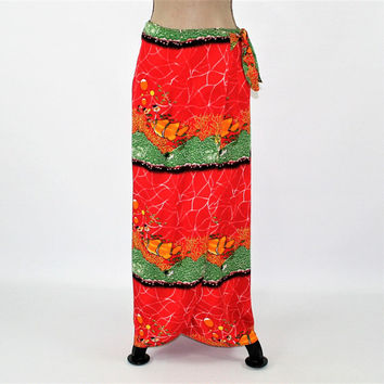 Wrap Skirt Women Maxi Skirt Rayon Beach Cover Up Colorful Fish Print Skirt Sarong Vintage Clothing Womens Clothing
