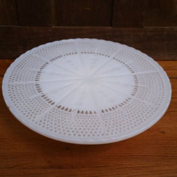 Vintage Milk Glass Cake Plate Cake Stand With Gold Accents