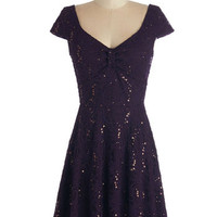 ModCloth Mid-length Cap Sleeves A-line Cask Party Dress in Mulberry