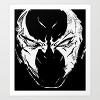 Spawn Black and White Abstract Helmet Illustration Art Print by Xopher Seuss GG