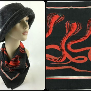 Vintage Black & Red Cobra Bandana Steampunk Cobra Neck Scarf 90's Grunge Black Red Snake Handkerchief Bandana Motorcycle Biker Cobra Bandana