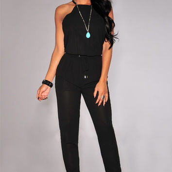 Black Halter Racer Back Drawstring Jumpsuit
