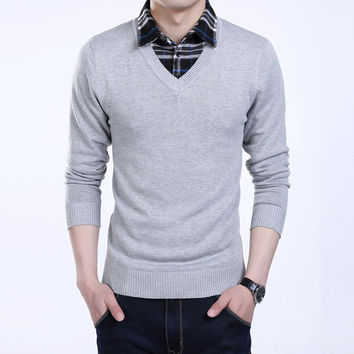 Mens Casual Plain Pullover Sweater