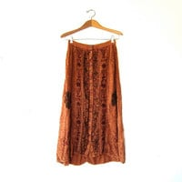 Vintage Gypsy Long Skirt. Embroidered Indian Maxi Skirt. Burnt Orange Hippie Boho Midi Skirt.