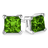 Sterling Silver .20ct TDW Treated Green Princess Cut Diamond Solitaire Stud Earrings