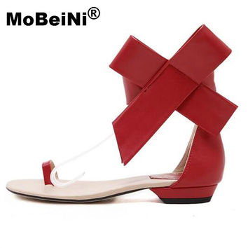 MoBeiNi Summer Style New 2017 Fashion Women Casual Retro Big Bowtie Bow Sandals Flats With Sandalsv Shoes Woman Free Shipping