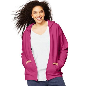 Just My Size ComfortSoft  EcoSmart  Fleece Full-Zip Women's Hoodie Style: OJ105-Jazzberry Pink 3X