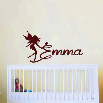 Wall Decals Personalized Name Decal Vinyl Sticker Angel Fairy Girl Baby Children Nursery Bedroom Decor Art Murals MN59