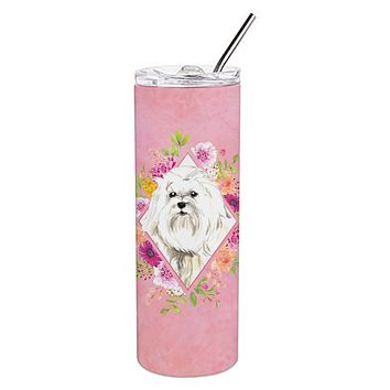 Maltese Pink Flowers Double Walled Stainless Steel 20 oz Skinny Tumbler CK4223TBL20