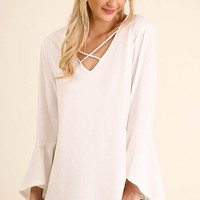 Cross My Heart Bell Sleeve Blouse - Ivory