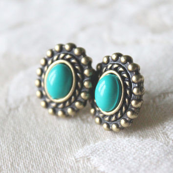Brass Turquoise Vintage Round Art Nouveau Vintage Framed Studs Gift Handmade Earrings