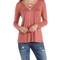 Cinnamon Caged V-Neck Long Sleeve Tunic Top by Charlotte Russe