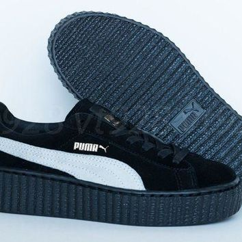 NEW PUMA FENTY RIHANNA CREEPERS SUEDE BLACK - WHITE WOMEN'S SHOES ALL SIZES