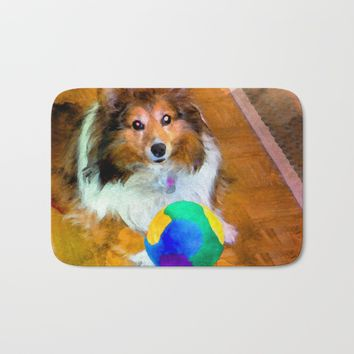 Sheltie with Ball Bath Mat by Scott Hervieux