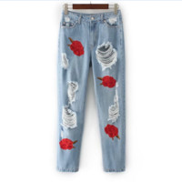 Fashion Roses embroidered hole  cowboy pants