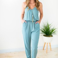 The Right Way Surplice Tank Jumpsuit - Seagreen