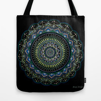 Blue and Green Mandala Tote Bag by YiaEfthimia
